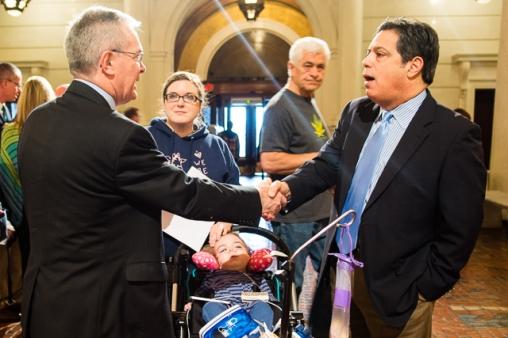 Sen. Jay Costa (right) meeting the NORD representative